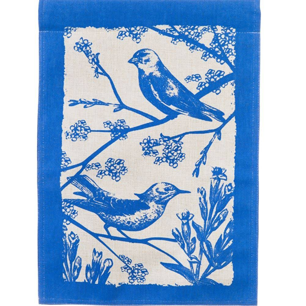 Evergreen Burlap House Flag - Birds in Bloom