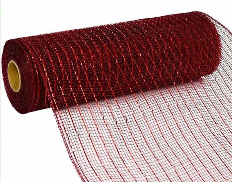 10 inch x 30 Feet Deco Poly Mesh Ribbon - Metallic Burgundy and Red Foil : RE130161