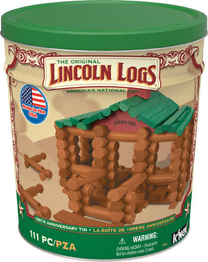 K'NEX Lincoln Logs 100th Anniversary Tin - 111 Pieces
