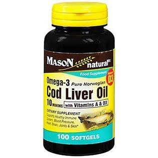 Mason Natural Omega 3 Cod Liver Oil with Vitamin A and D3 Food Supplement - 100 Softgels