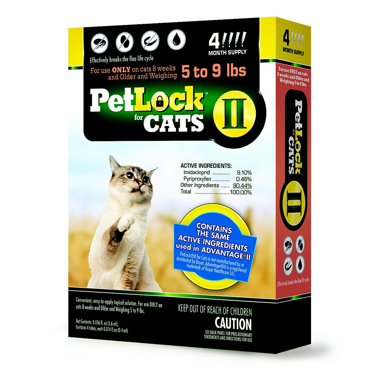 Petlock For Cats Ii Flea Treatment - 4 Month Supply