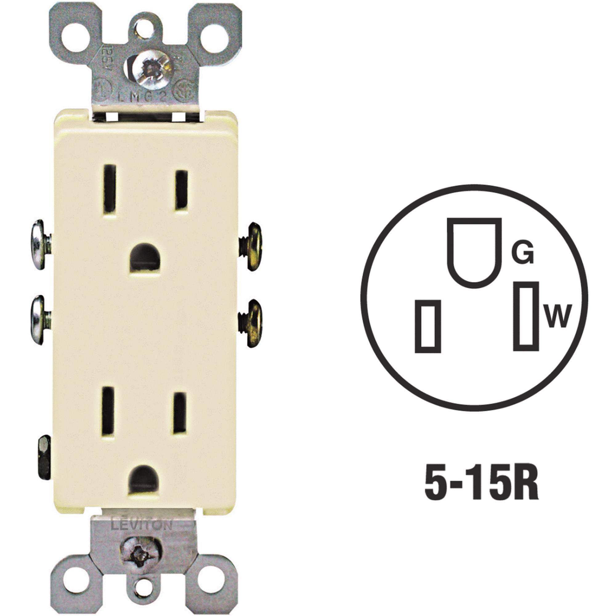 Leviton S01-05325-ISP Grounded Duplex Outlet