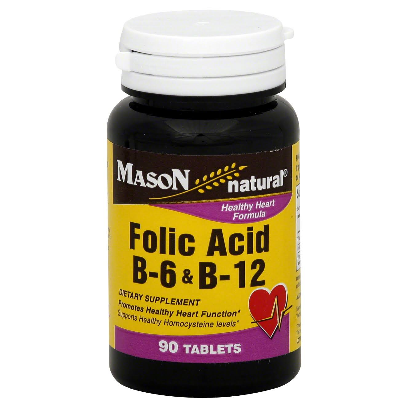 Mason Natural Folic Acid B6 and B12 Dietary Supplement - 90ct