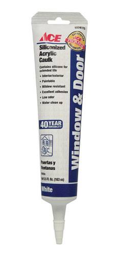 Ace Siliconized Acrylic Window & Door Caulk White 5.5 oz. 0845AC
