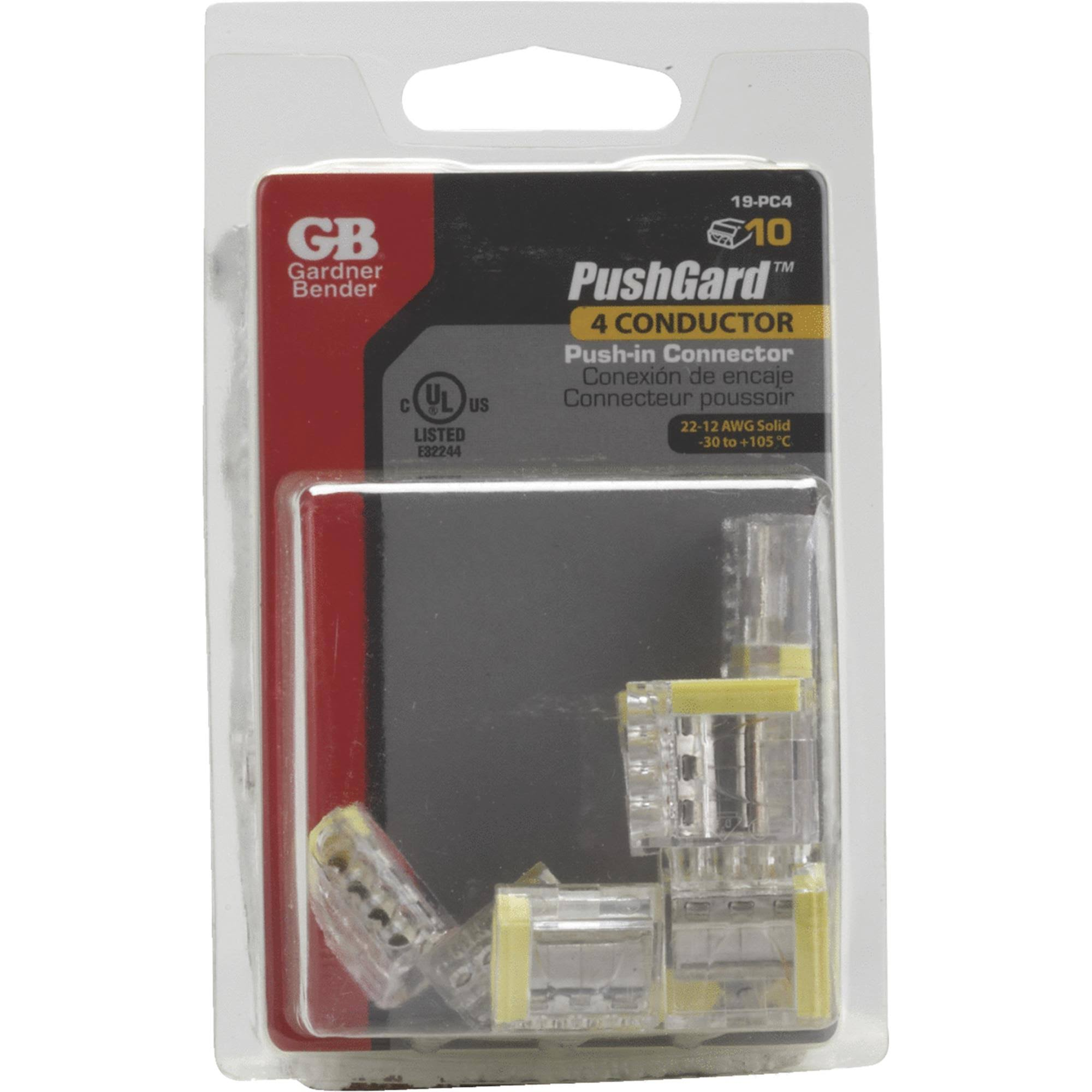 Gardner Bender 19PushGard Push-In Wire Connector - 4-Port, Yellow