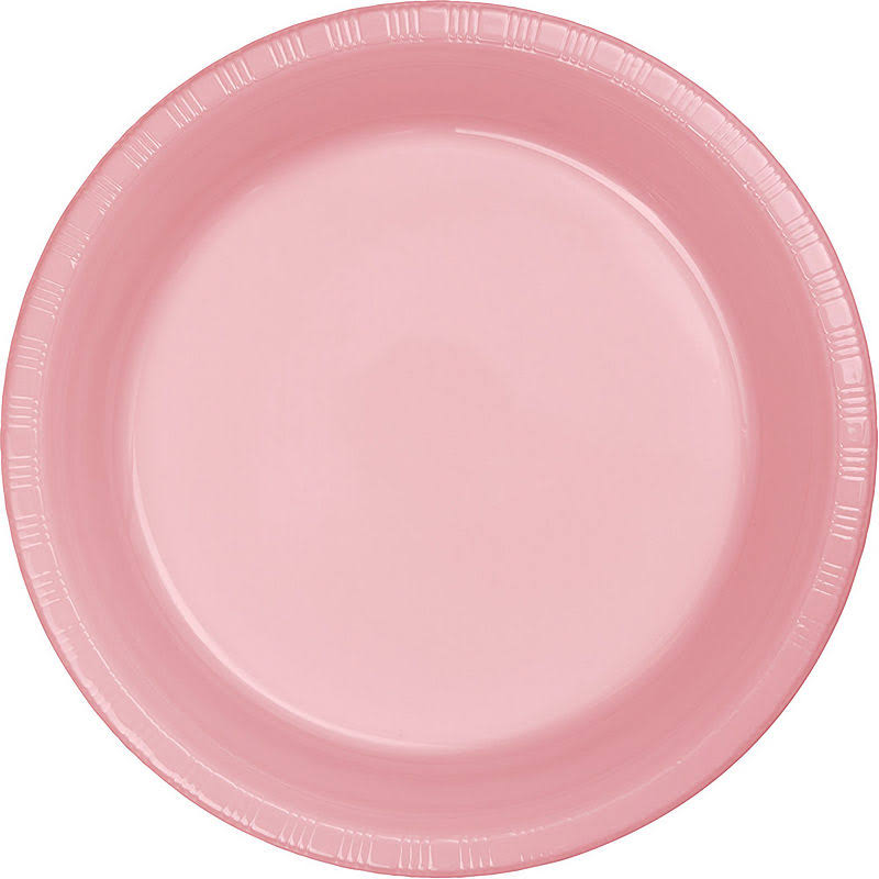 "Creative Converting 28158031 Touch of Color Plastic Banquet Plate - 10"", Classic Pink, 20ct"