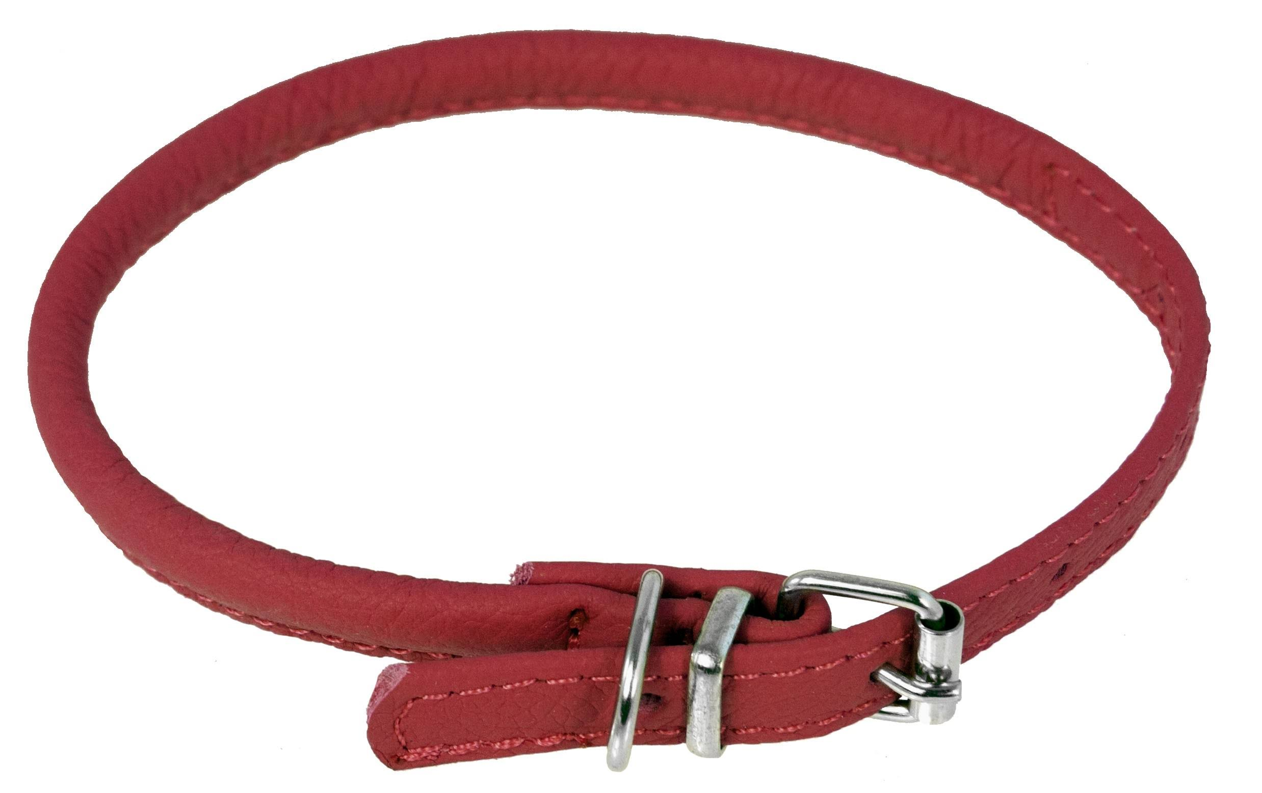 "Dogline Leather Collar - Red, 1/4"" x 8"" x 10"""