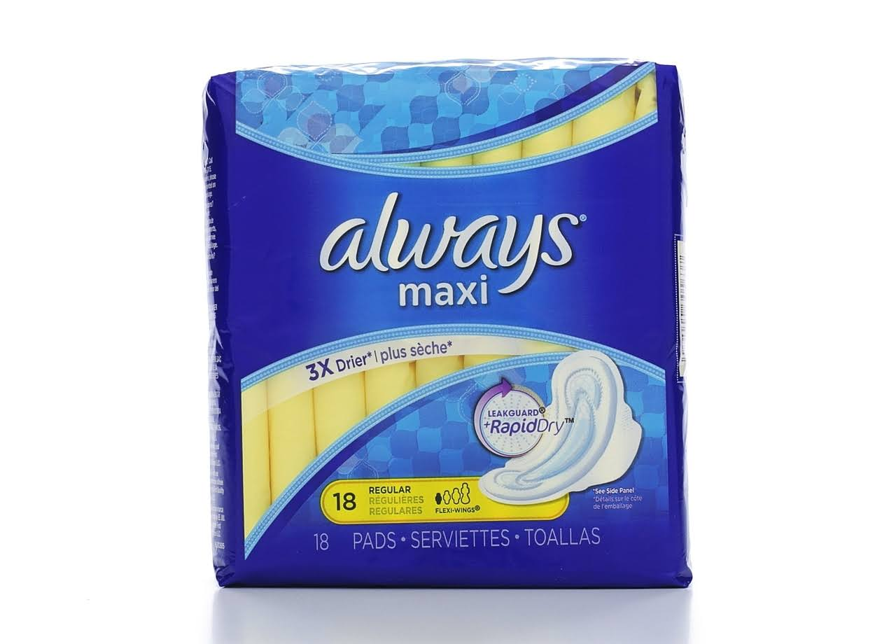 Always Maxi Regular Pads - with Wings, Unscented Pads, 18 Count