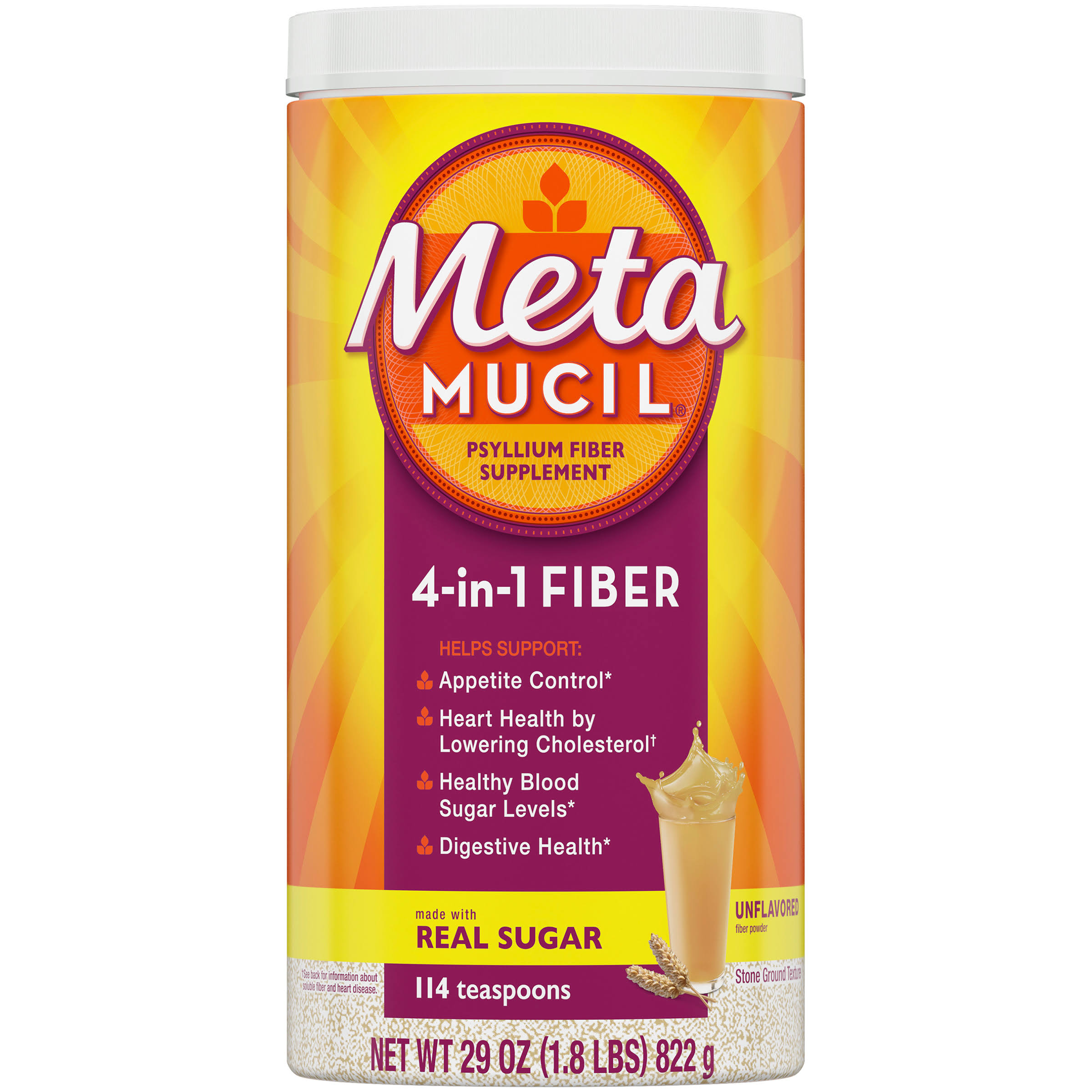 Meta Mucil 4 in 1 MultiHealth Fiber! Original Coarse Fiber Powder - 29oz