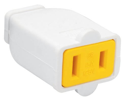 Pass and Seymour SA155WCC10 Polarized Connector - White, 15 Amp, 125V