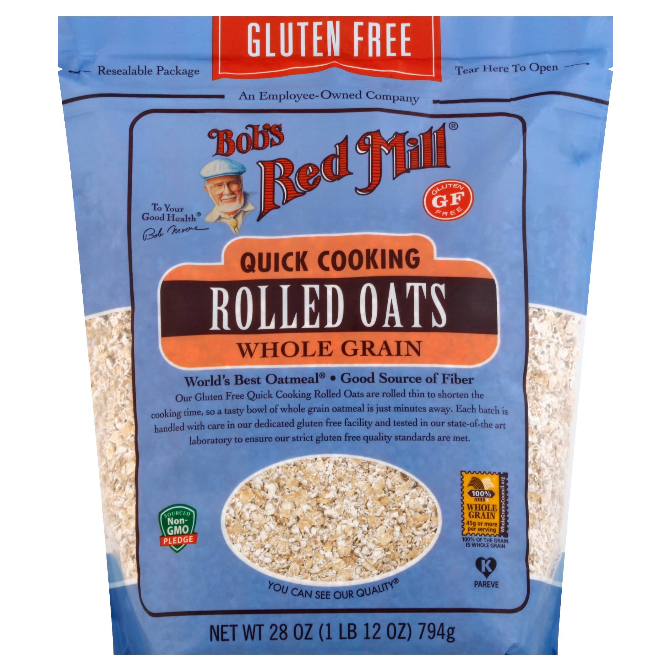 Bobs Red Mill Rolled Oats, Quick Cooking, Gluten Free, Whole Grain - 28 oz