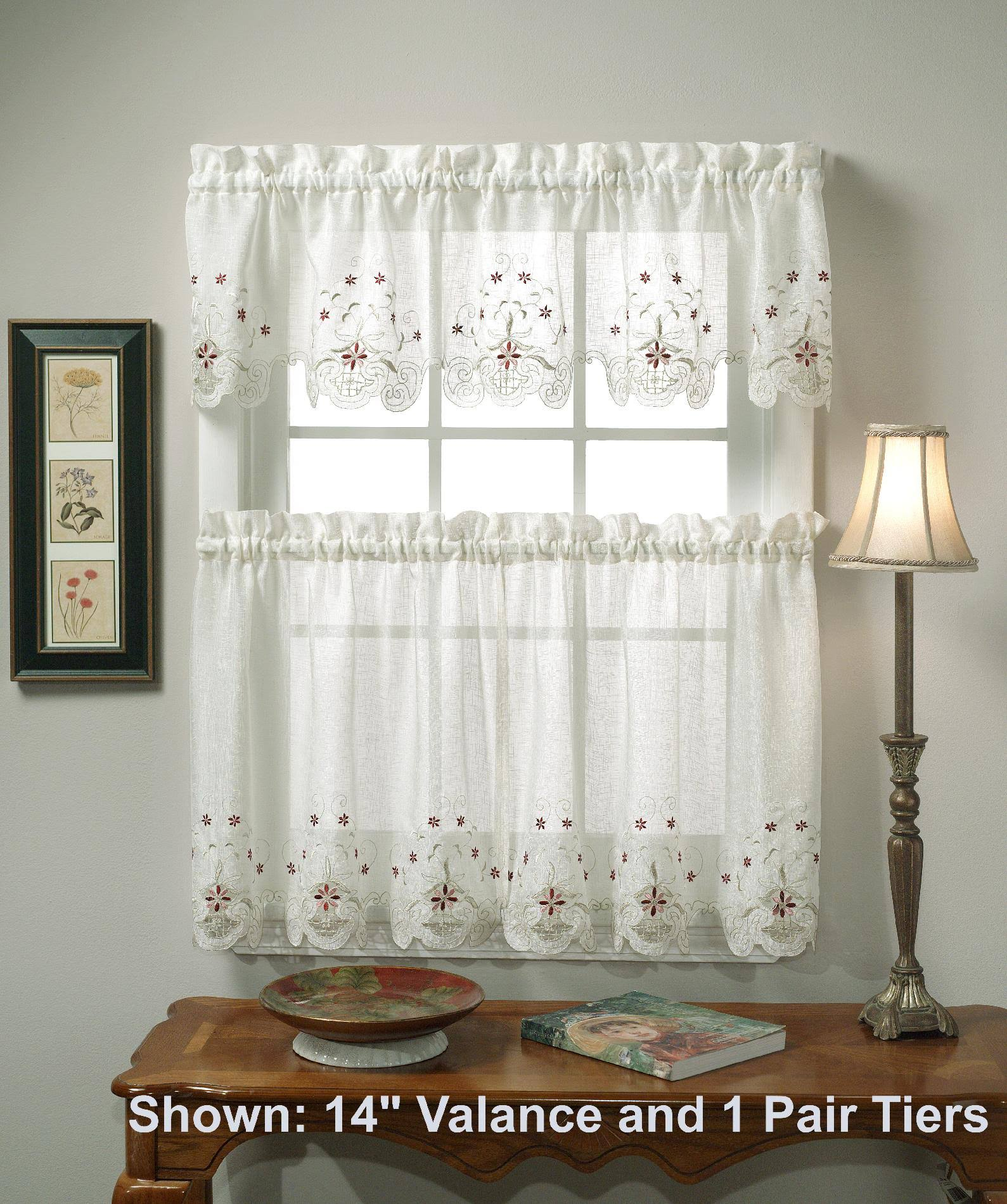 Today's Curtain Sunshine Semi Sheer Reverse 14-Inch Embroidery Valance, Ecru/Burgundy