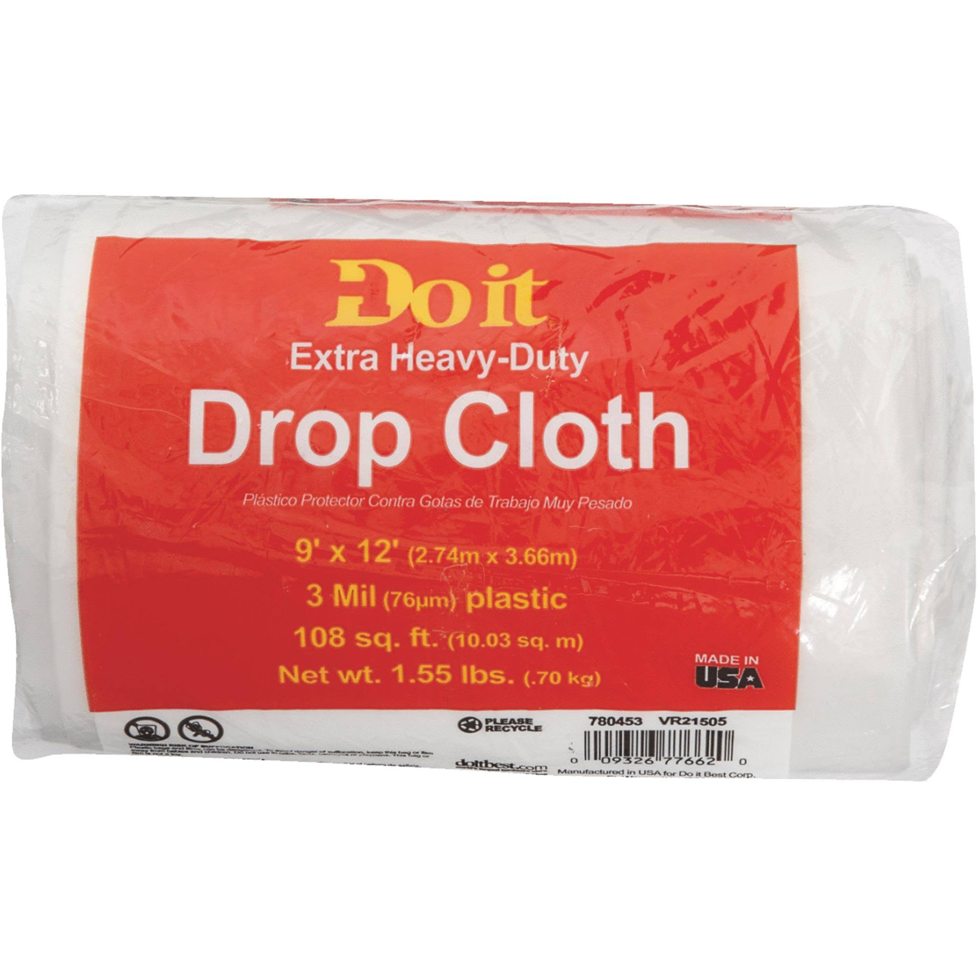 Do It Plastic Drop Cloth - 3 Mil, 9' X 12'