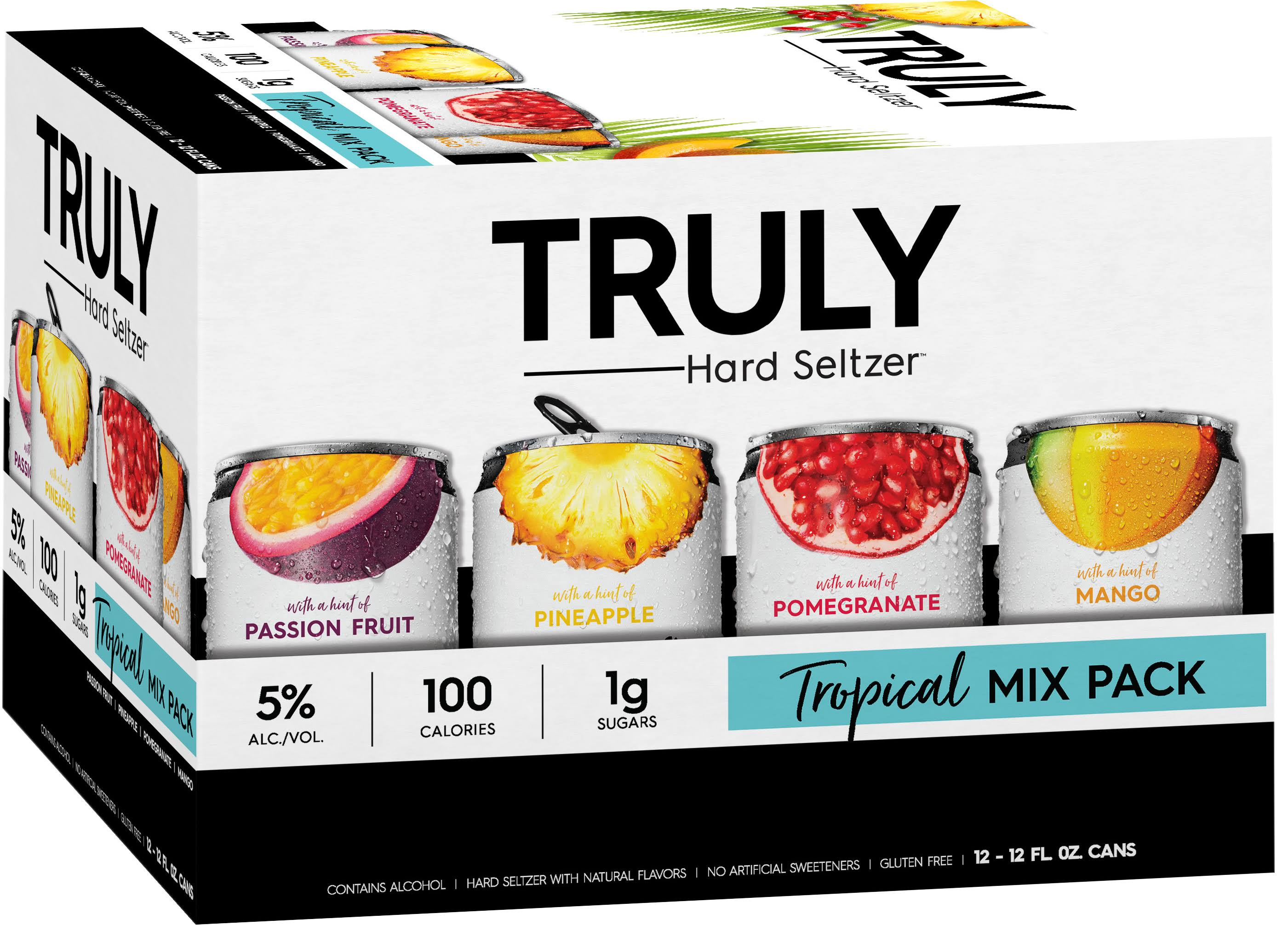 Truly Hard Seltzer Hard Seltzer, Tropical Mix Pack - 12 pack, 12 fl oz cans