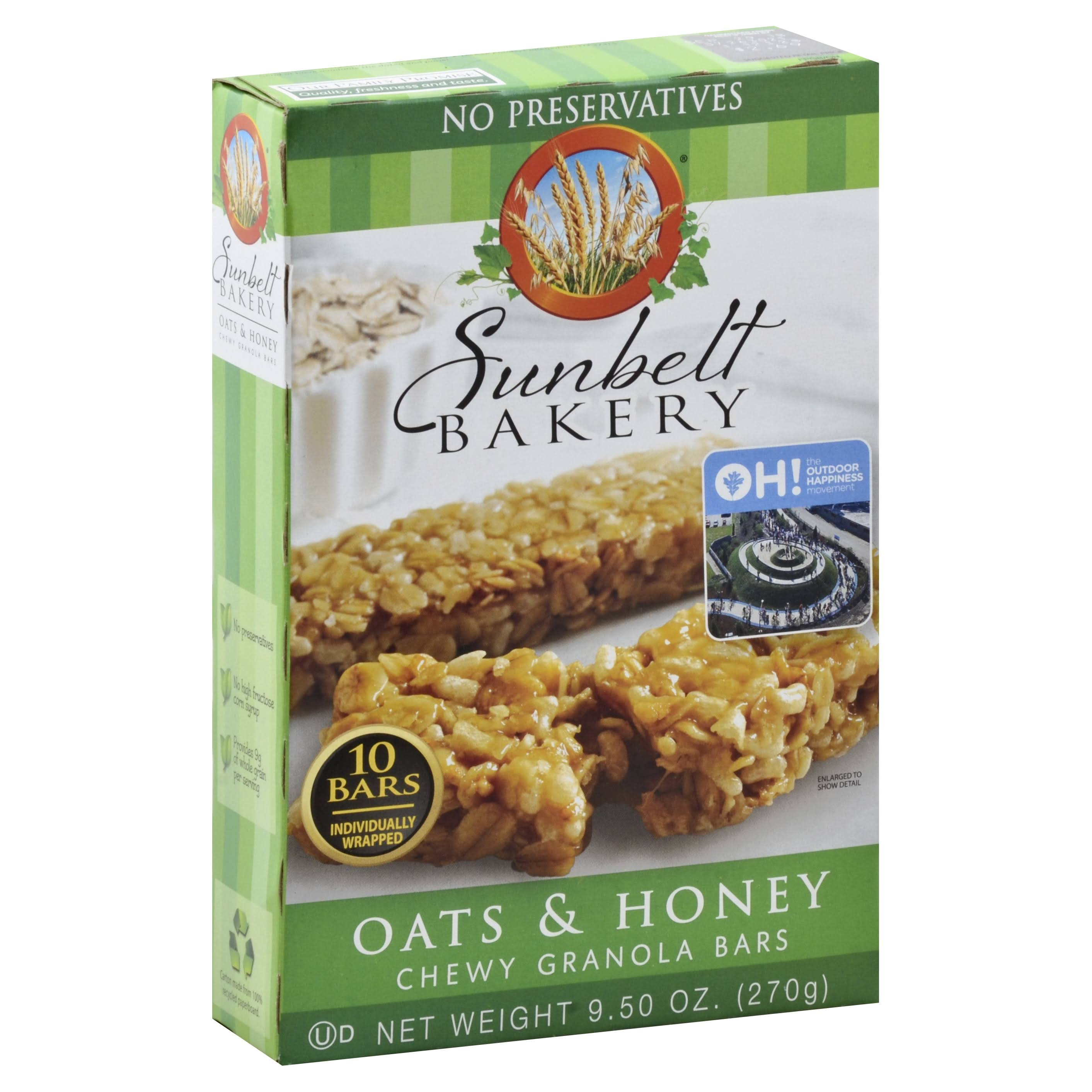 Sunbelt Bakery Chewy Granola Bars - Oats and Honey, 9.5oz, 10ct