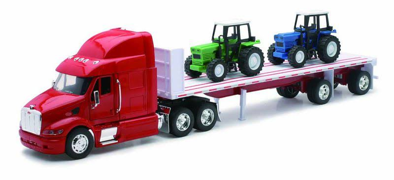 New Ray 10283A Peterbilt 387 Flatbed with Farm Tractor Long Hauler Toy Truck Model Kit