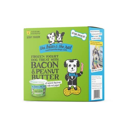 The Bear & The Rat Dog Treat, Frozen Yogurt, Bacon & Peanut Butter - 4 pack, 3.75 oz cups