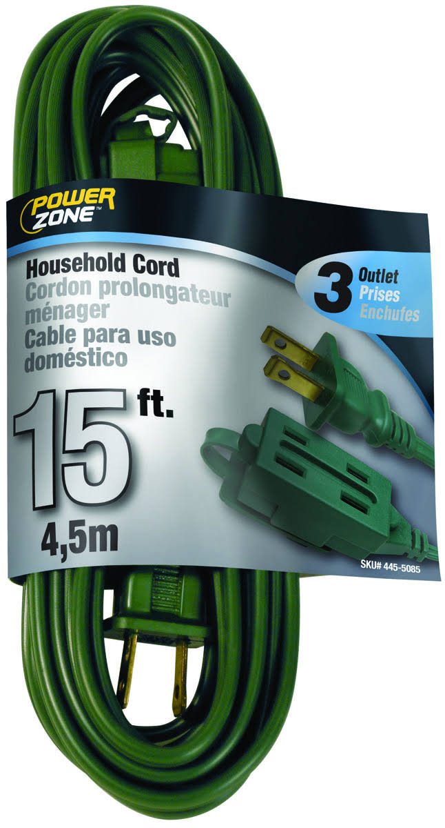 "Power Zone OR780615 Extension Cord - 16/2"", Green, 15'"
