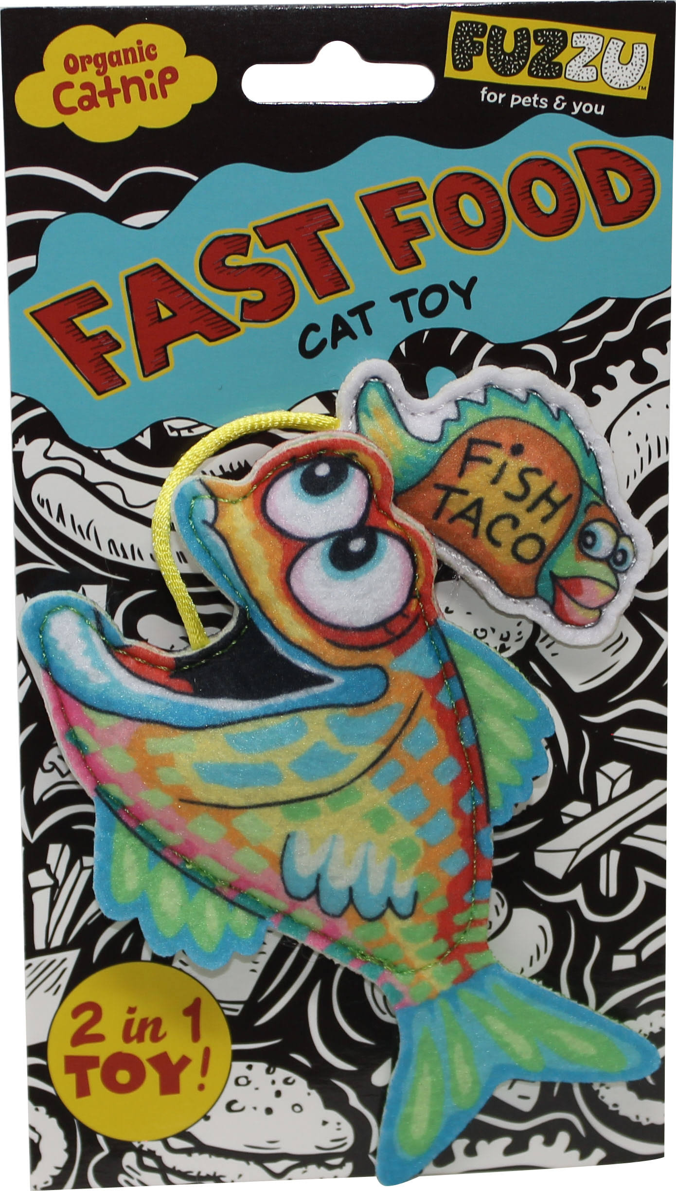 Fuzzu Fish and Taco Fast Food Catnip Cat Toy - Green, Small