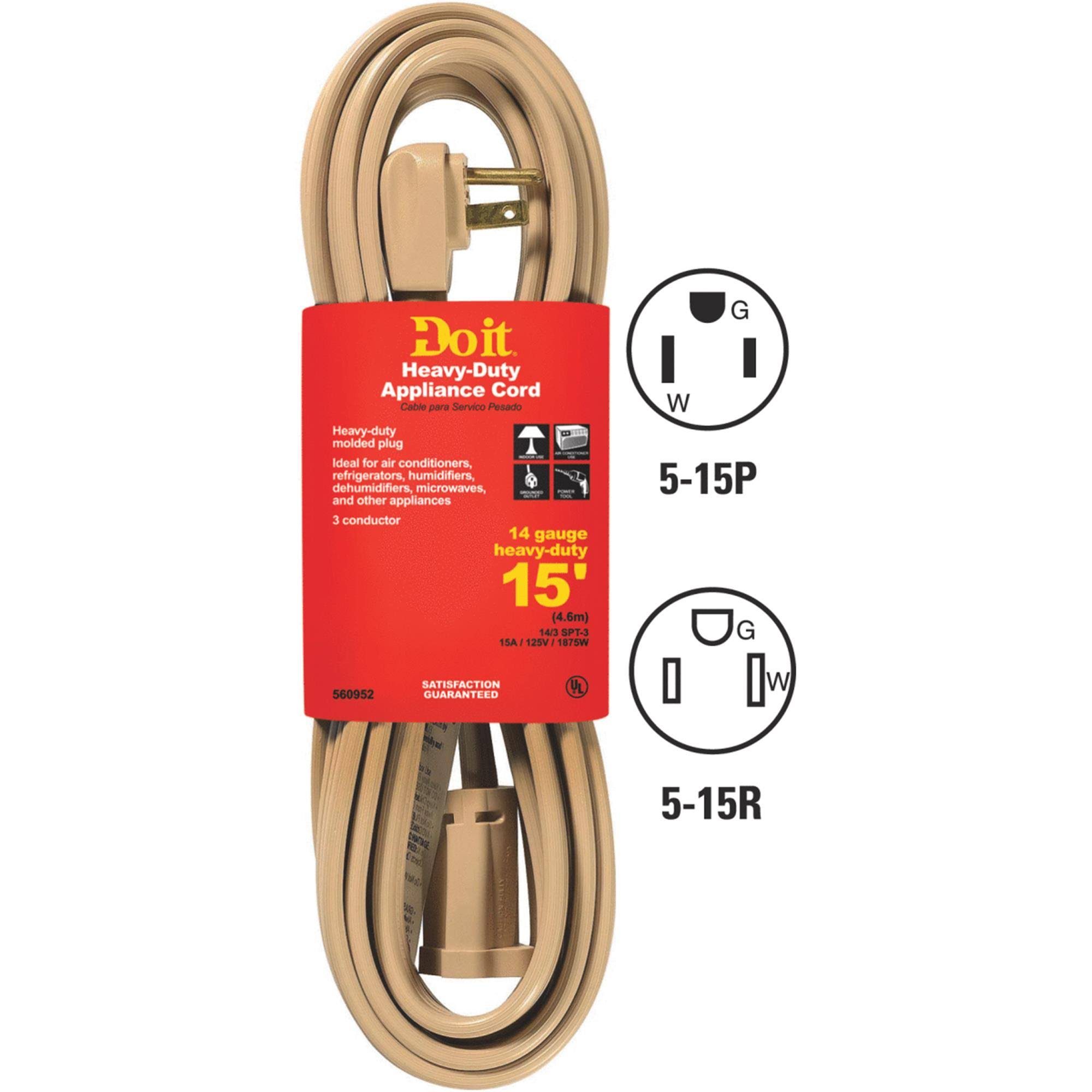 Do It Best 14/3 Heavy-Duty Appliance Cord - Beige, 15ft