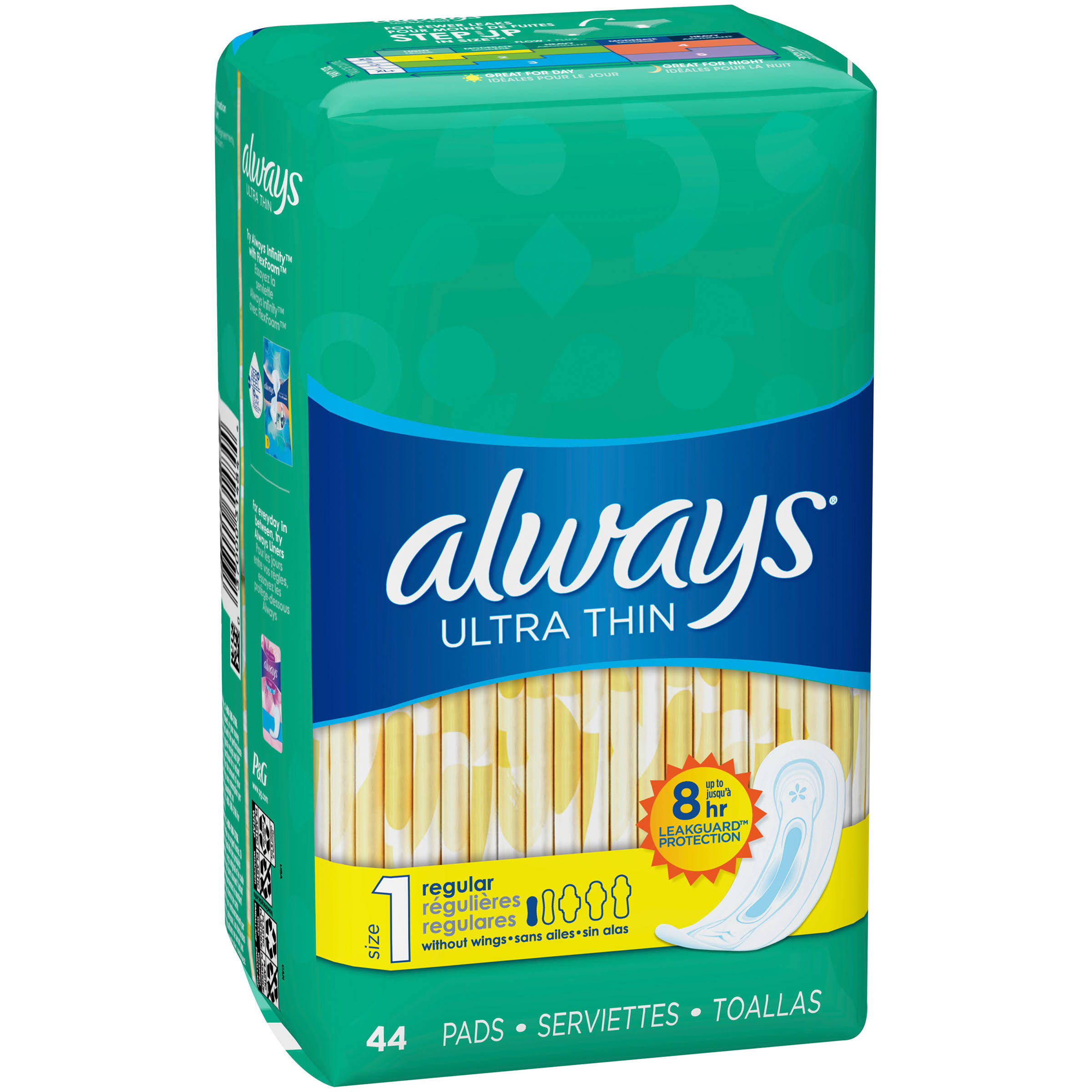 Always Ultra Thin Regular Without Wings Thin Pads - 44 Pack