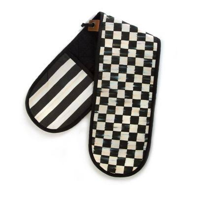 MacKenzie-Childs Courtly Check Large Double Oven Mitt, Black/White