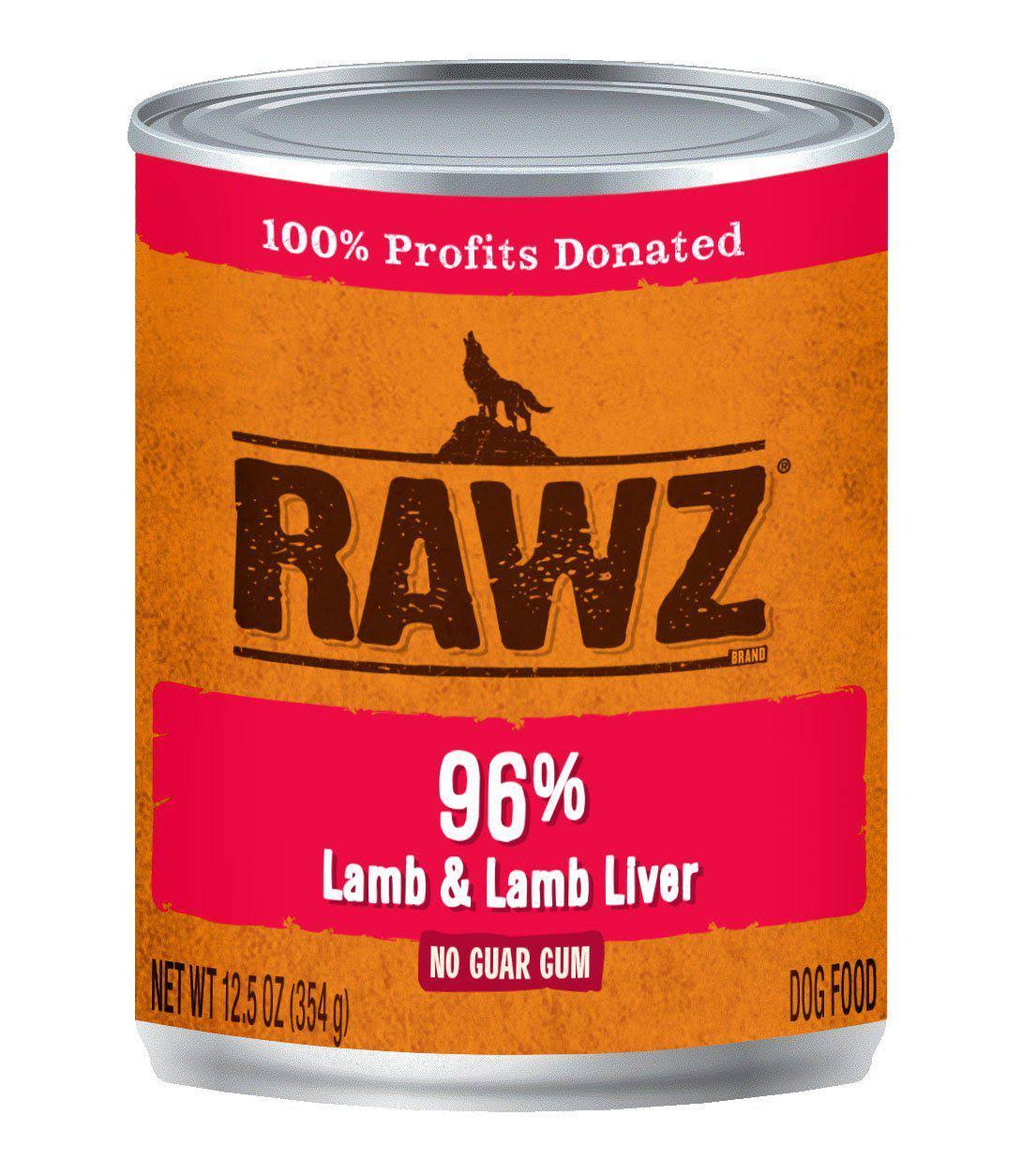 Rawz 96% Lamb & Liver Dog Food Can | Tomlinson's Feed 12.5 oz