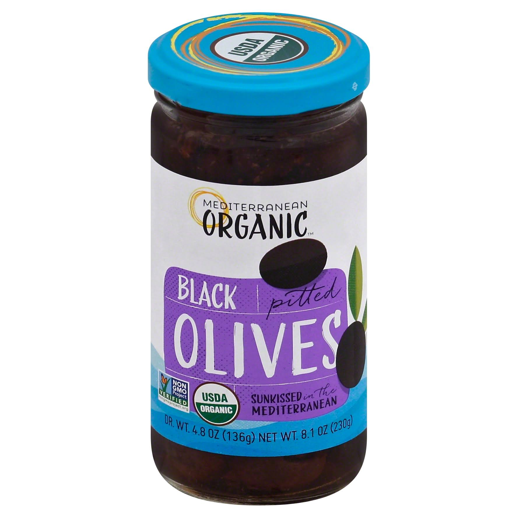 Mediterranean Organic Tree Ripened Black Olives - Pitted, 9oz