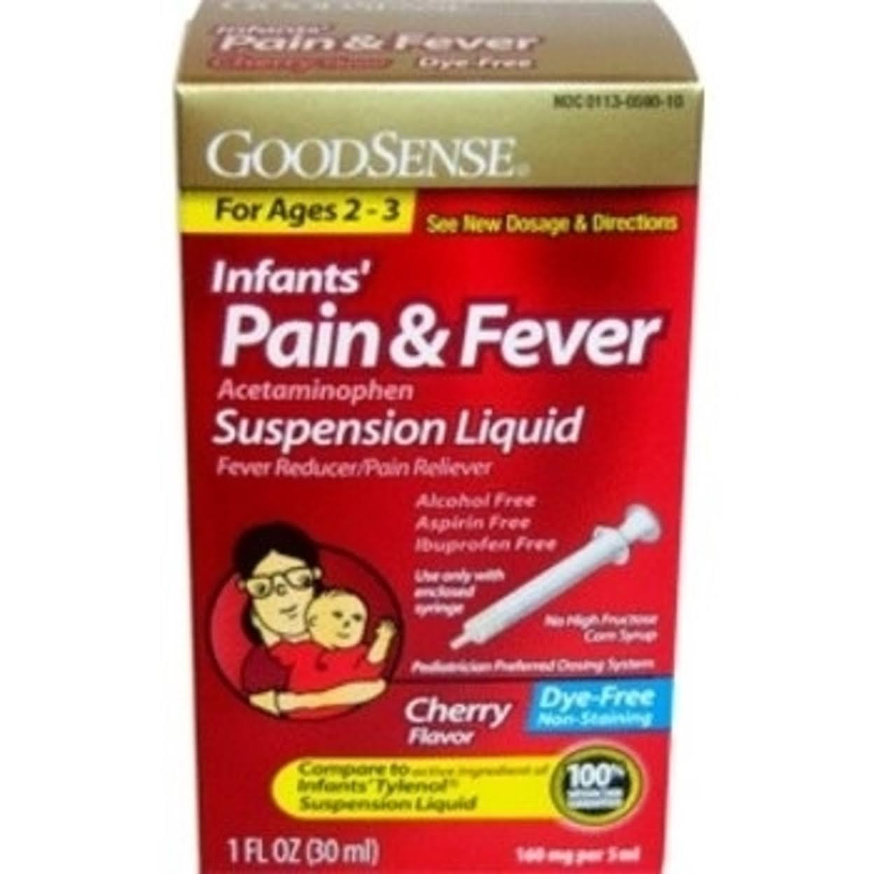 GoodSense Infant's Pain and Fever Acetaminophen - Grape Flavor, 160mg, 30ml