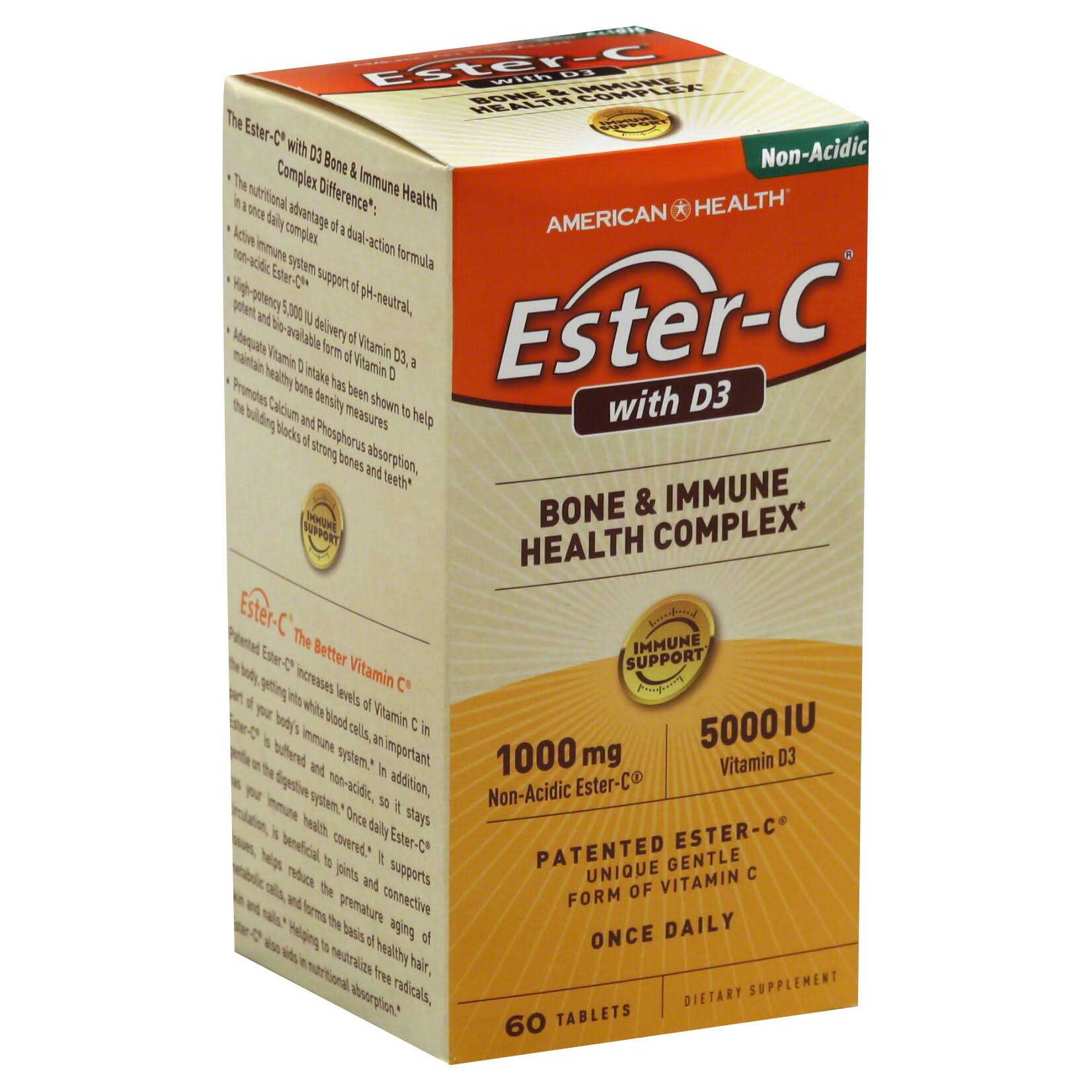 American Health Ester-C With D3 Bone & Immune Health Complex - 60 Tablets