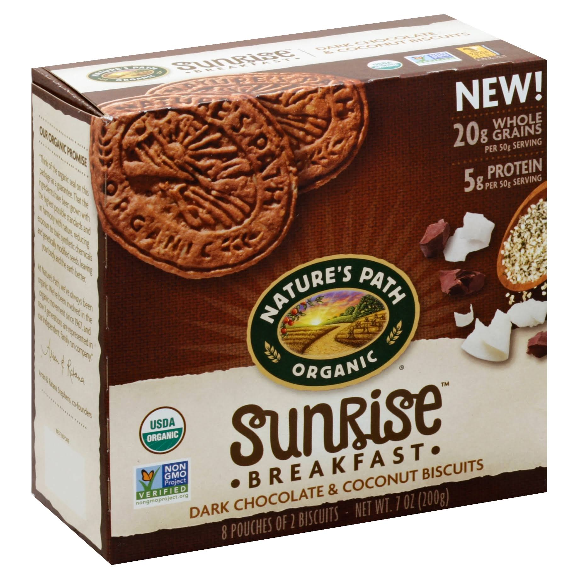Natures Path Sunrise Breakfast Biscuits, Dark Chocolate & Coconut - 8 pouches, 7 oz