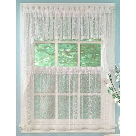 Lorraine Home Priscilla Lace Kitchen Curtain Valance, White