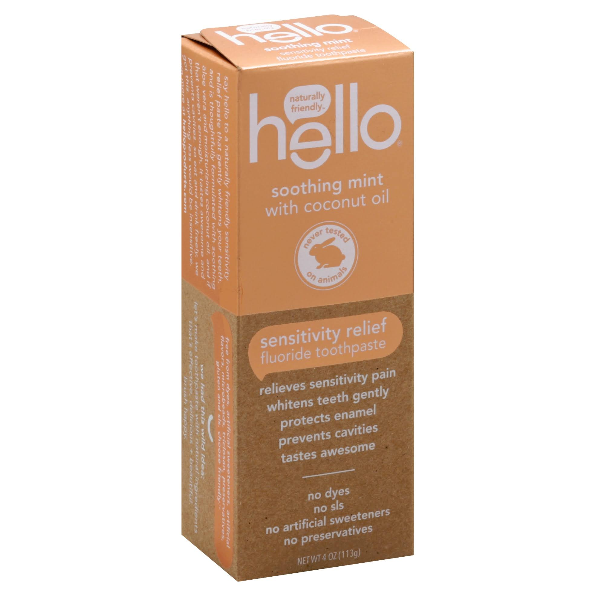 Hello Naturally Friendly Sensitivity Relief Fluoride Toothpaste - 4oz