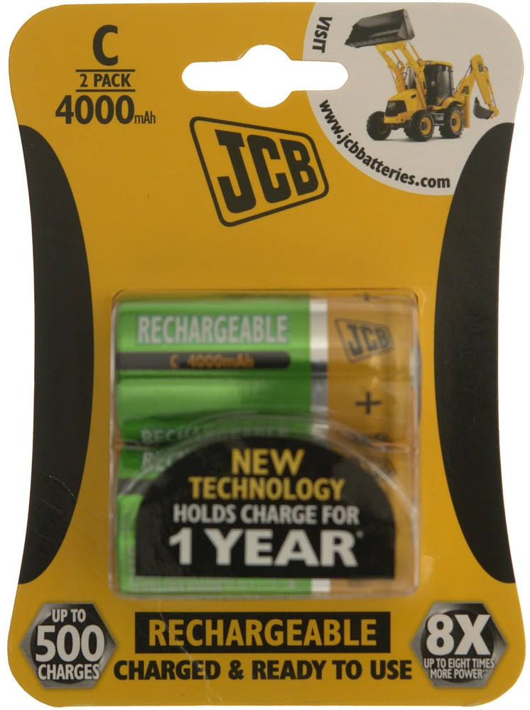 JCB Rechargeable C Batteries - 4000mAh - Pack of 2