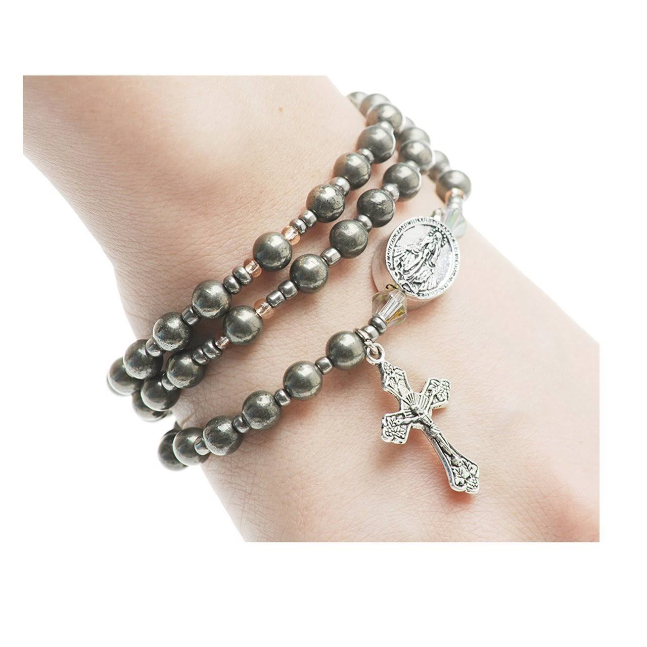 Twistable Simulated Gemstone Full Rosary Bracelet Hematite
