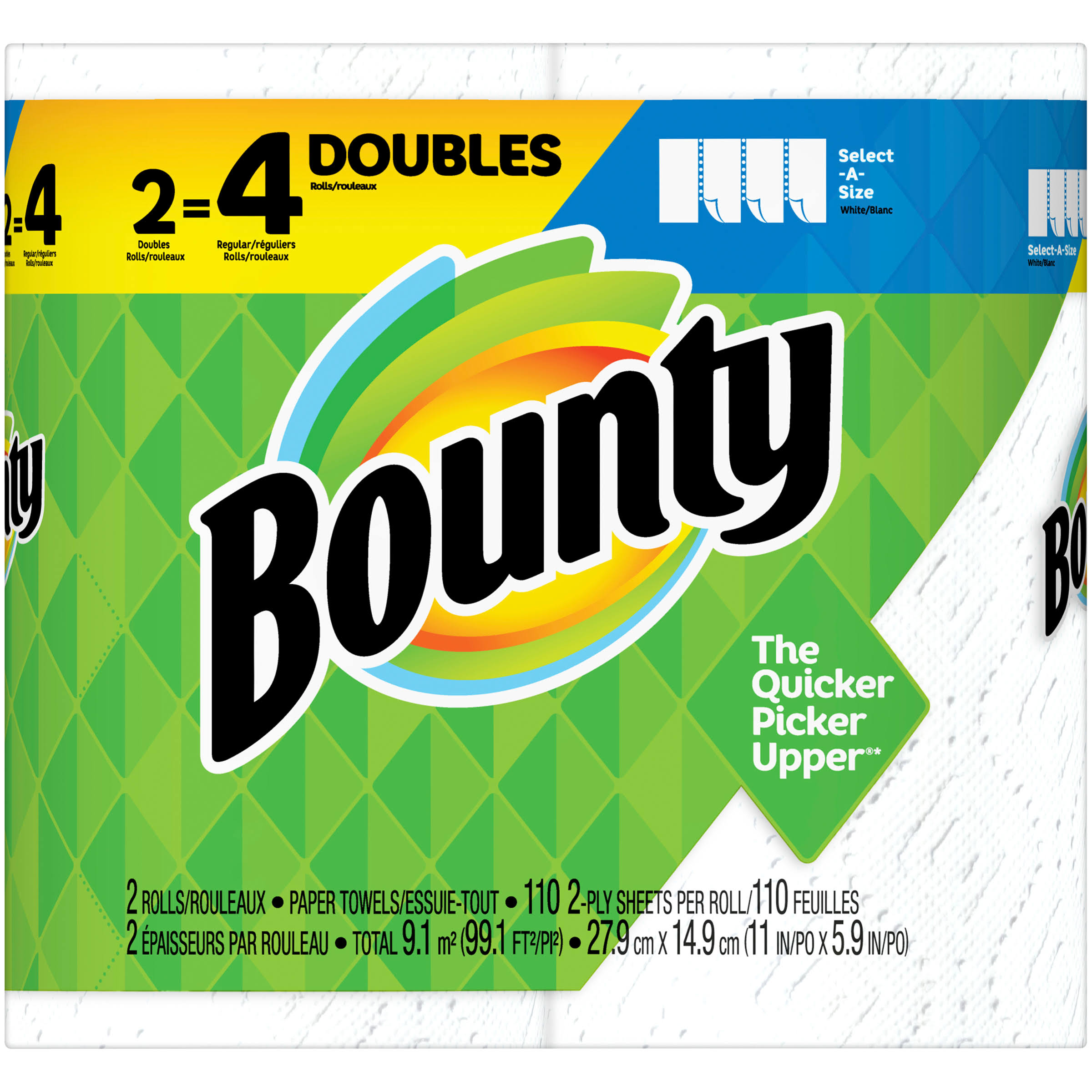 Bounty Paper Towels, Double Rolls, Select-A-Size, White, 2-Ply - 2 rolls