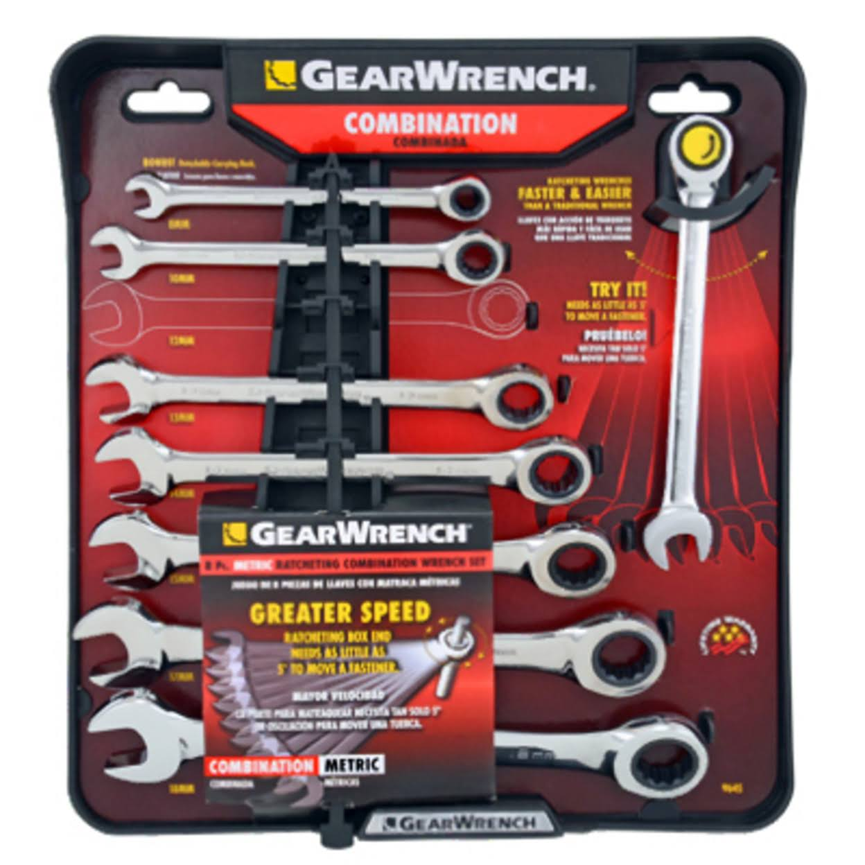 GearWrench 485100 Metric Ratcheting Wrench Set - 8pcs