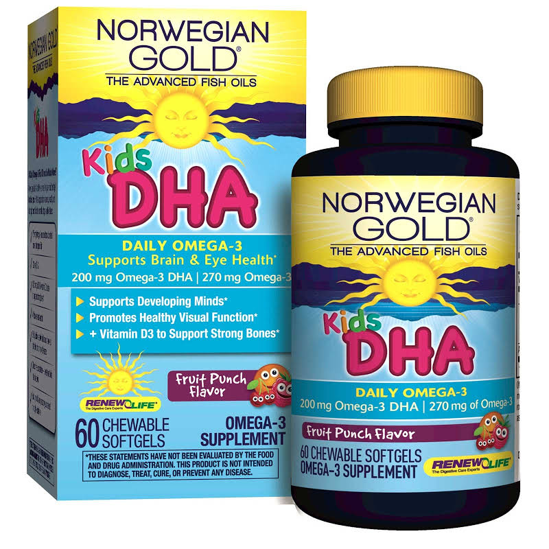 Renew Life Kids DHA Fruit Punch 60 Chewables