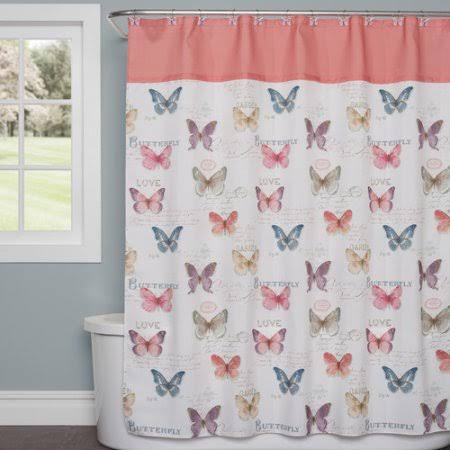 Saturday Knight, LTD Rainbow Butterfly Shower Curtain