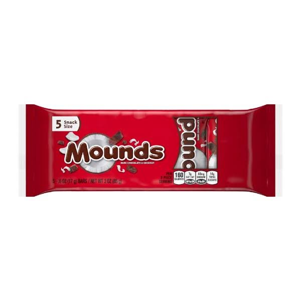 Mounds Chhocolste Bars - Snack Size, 0.6oz, 5ct, Dark Chocolate and Coconut