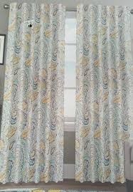 Moroccan Tile Curtain Panels by Amazon Com Envogue Miza Large Paisley Yellow Blue Grey Teal Pair