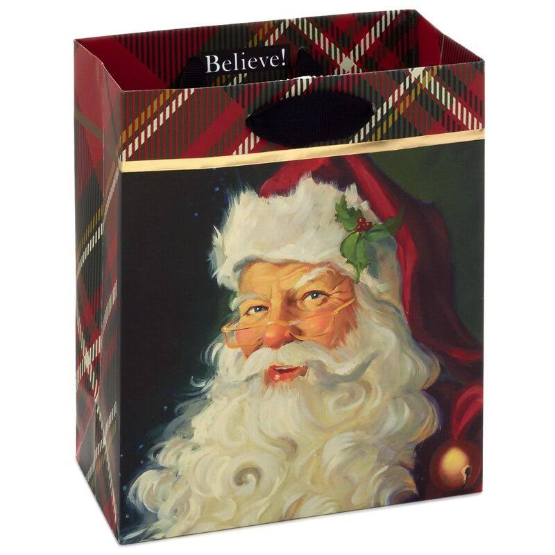 "6"" Santa with Red Plaid Christmas Gift Bag"