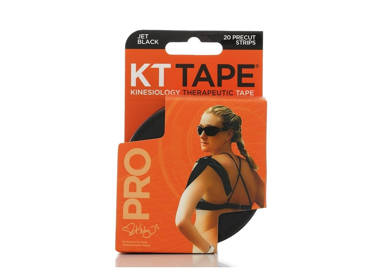 Kinesiology Therapeutic Pro Tape - Precut, 20 Strips, Jet Black