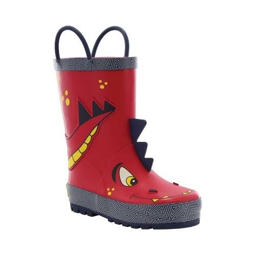 Western Chief Children's Dinosaur Rain Boots - Red, US13