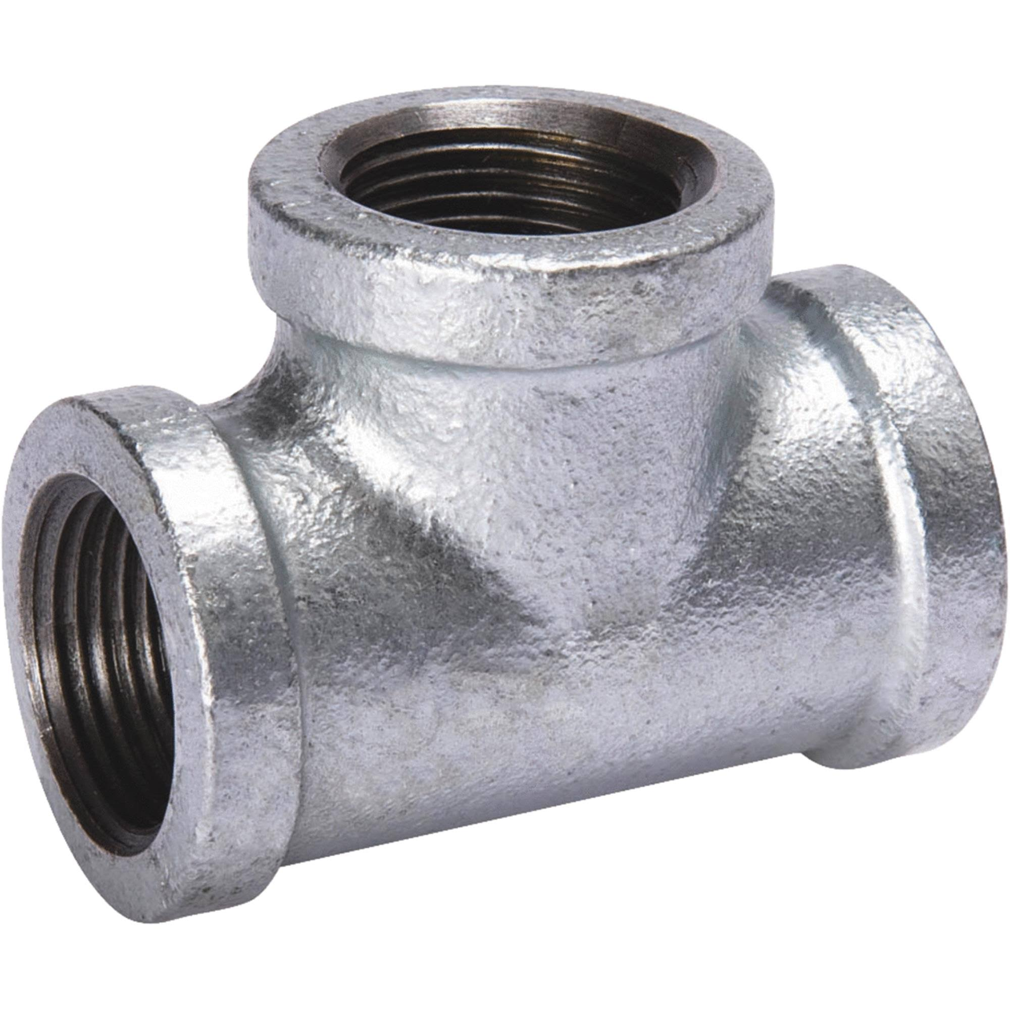 B and K FIP Malleable Iron Tee Pipe - Galvanized, 1/4""
