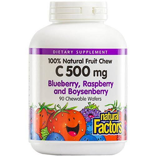 Natural Factors 100% Natural Fruit Chew C - 500mg, Blueberry, Raspberry and BoysenBerry