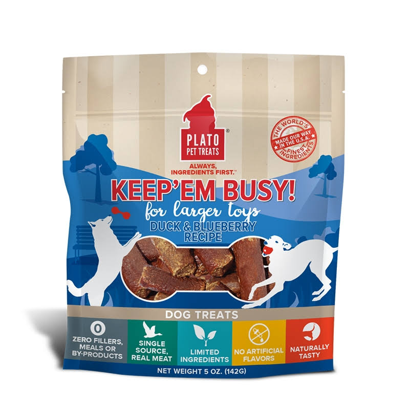 Plato Keep 'Em Busy Dog Treats 5 oz - Duck and Blueberry - Small