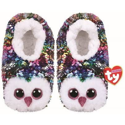 Ty Plush Sequin Owen Owl Slippers