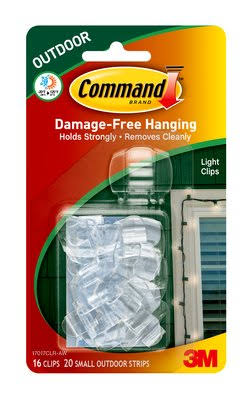 3M Command Brand Outdoor Hanging Light Clips - White, 16ct, Damage-free