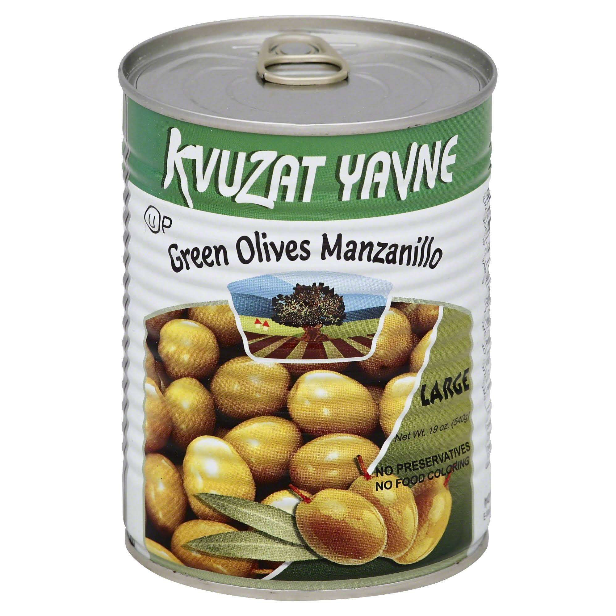 Kvuzat Yavne Large Green Olives Manzanillo - 19oz